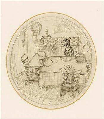 pooh tigger and piglet at a table